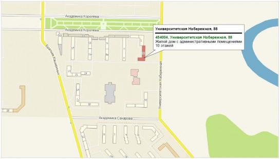 Схема проезда в офис в г. Челябинске